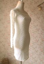 White Lace Dress Long Sleeve Stretchy Lace Sheath Dress Women Lace Party Dresses image 5