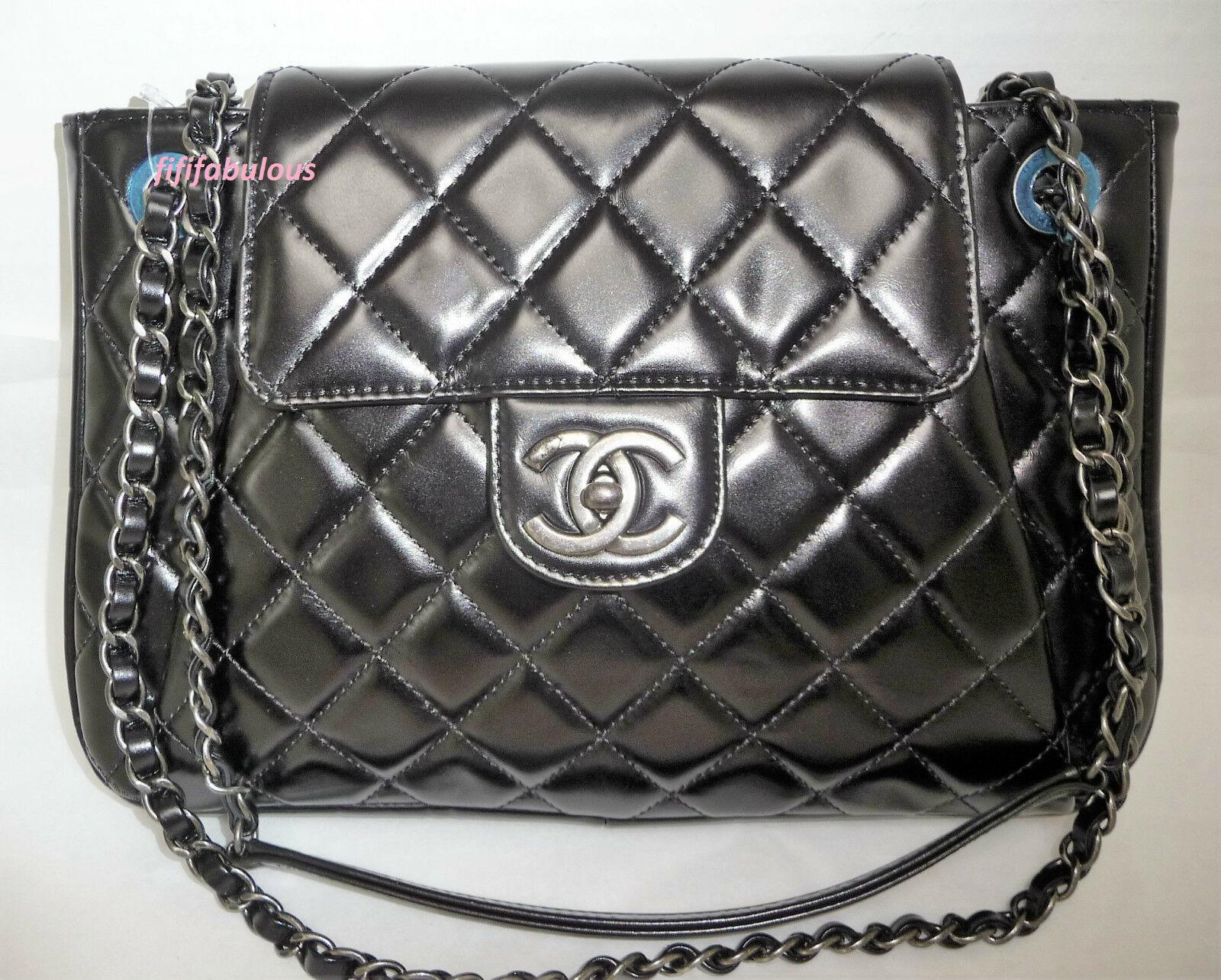 Chanel Jumbo Black Calfskin Accordion Classic Flap Bag New