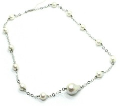 18K WHITE GOLD NECKLACE OVAL BAROQUE CENTRAL PEARL, ROUND PEARLS, RHOMBUS CHAIN image 1