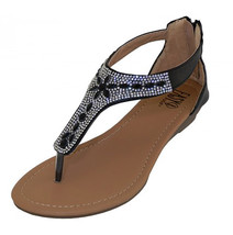 Crystal Rhinestone Jeweled Thong Gladiator Low Wedge Black Sandals Back ... - $22.99