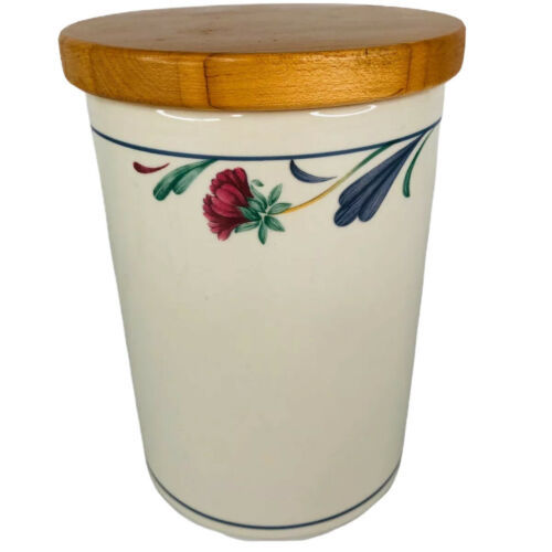 "Lenox Poppies On Blue Medium Canister Border 5 3/4"" With Wood Lid Utensil Holder - $49.35"