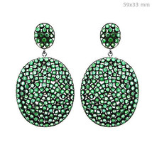 Gemstone Emerald 14k Gold Diamond Dangle Earrings Silver Vintage Inspire... - $784.09