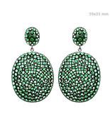 Gemstone Emerald 14k Gold Diamond Dangle Earrings Silver Vintage Inspire... - $784.09