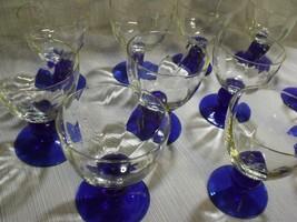 SET OF (11) CUSTOM MADE VINTAGE BLOWN GLASS TWO TONE BALL STEM WINE GLASSES - $54.45