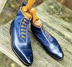 Handmade Men's Blue Leather And Suede Two Tone Buttons Boots image 4