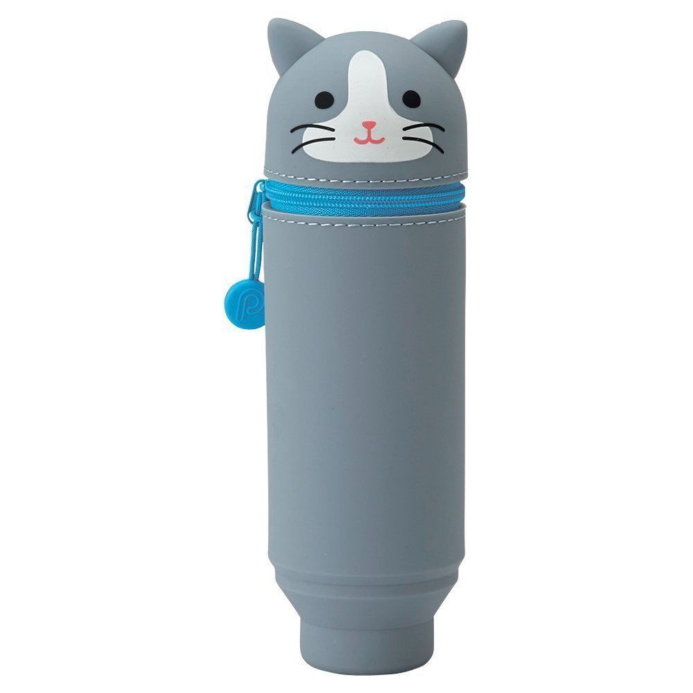 LIHIT LAB SMART FIT PuniLabo Stand Pen Case Hachiware Neko Gray Cat JAPAN GIFT