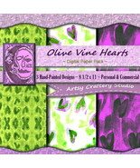 3 Digital Papers Pack, Olive Vine Hearts, Personal & Commercial, 8 1/2 x... - $3.00