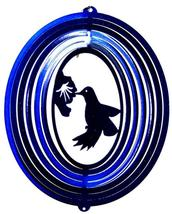 8 in stainless steel blue hummingbird USA 3D hanging yard wind spinner, spinners - $18.00