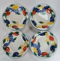 """Dansk Tuscany Collection Red Blue Yellow Fruit Soup Salad Pasta 9.5"""" Bowls Set 4 - $97.02"""