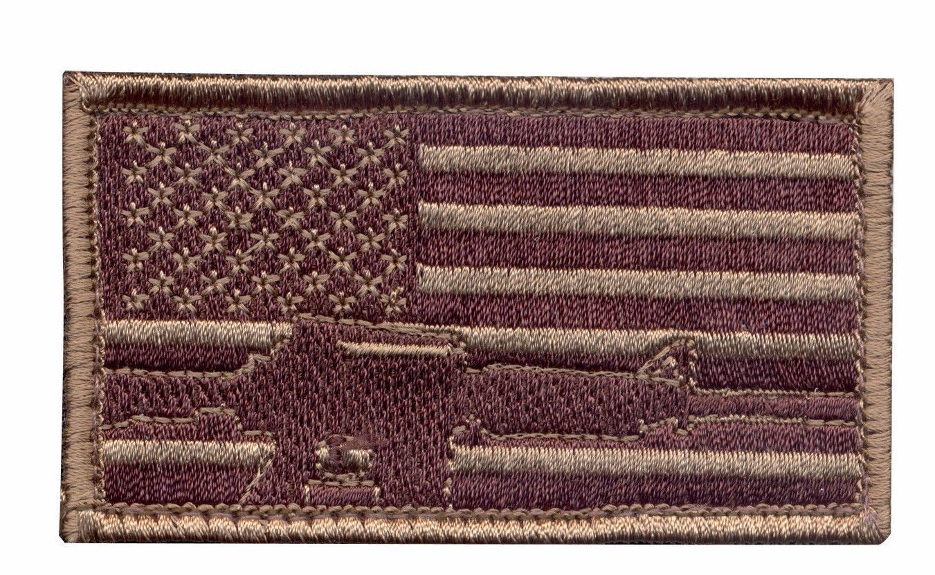 Primary image for DESERT USA FLAG SUBDUED GUN HOOK AND LOOP EMBROIDERED MILITARY PATCH