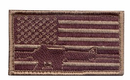 DESERT USA FLAG SUBDUED GUN HOOK AND LOOP EMBROIDERED MILITARY PATCH - $23.74