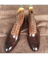 New Men Handmade Leather Ankle High Boots, Two Tone Wing Tip Lace Up Boots  - $179.97+