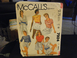 McCall's 7924 Set of Stretch Knit Tops Pattern - Size S (10-12) Bust 32 1/2-34 - $7.34