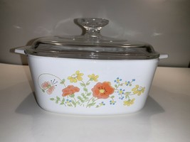 Vintage Corning Ware Wildflower Casserole Dish w Lid, pre-owned, 1.5 qt - $29.67