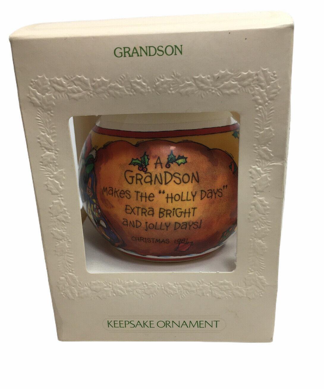 Vintage Hallmark Unbreakable Satin Ornament 1981 Grandson Keepsake Ornament - $18.76
