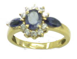 charming Iolite Gold Plated Blue Ring wholesale US 6,7,8,9 - $7.91