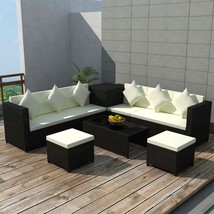 vidaXL Garden Sofa Set Wicker Poly Rattan Black Outdoor Lounge w/ Storage Box - $690.99