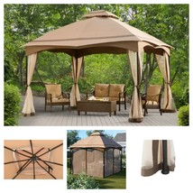 Patio Canopy GAZEBO With Mesh Screens 12x10ft Steel Garden Party Shelter... - $469.95