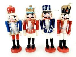 "Set of 4 Vintage Nutcracker Ornaments, Colorful 5"" Soldier Miniature Fig... - $14.65"