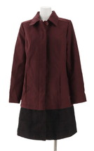 Isaac Mizrahi Melton Fully Lined Coat Eyelet Trim Deep Burgundy 12 NEW A... - $57.40