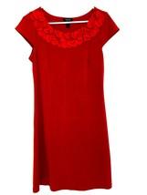 Forever Womens Medium Dress Red Shift Ruffle Neckline Cap Sleeves Career... - $16.97