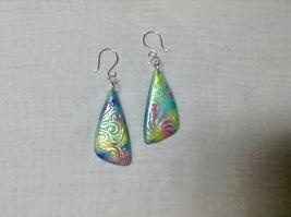 Earrings Handmade Polymer Clay Dangles Freeform Triangle Shape Bright Mu... - $18.00