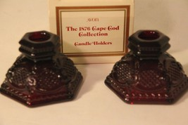 Avon Ruby Red 1876 Cape Cod (2) Candle Holders Original Box Vintage - $18.69