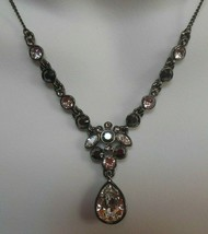 Signed Givenchy Hematite Crystal Drop Chain Necklace  - $34.64