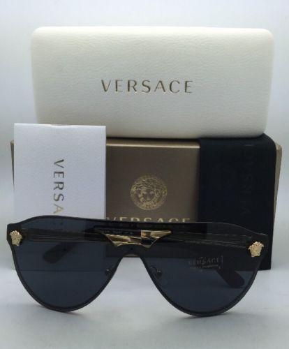 e092fe30bf8 New VERSACE Sunglasses VE 2161 1002 87 Shield Gold   Black Frames w  Grey