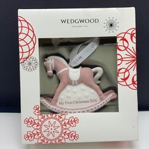 Wedgwood christmas ornament England My First 2016 rocking horse figurine pink - $34.65