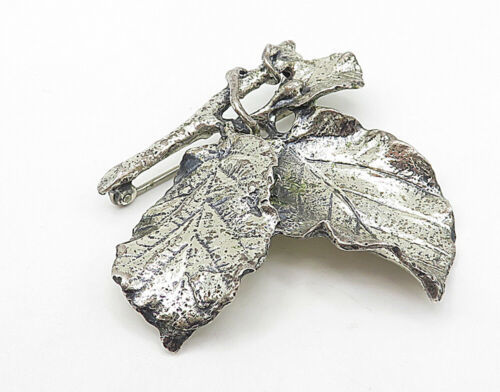 DANECRAFT 925 Silver - Vintage Autumn Leaves On A Branch Brooch Pin - BP2717 - $83.39