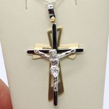 SOLID 18K WHITE YELLOW GOLD PENDANT DOUBLE CROSS, JESUS, SATIN, MADE IN ITALY image 6