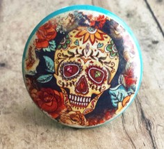 Handmade Sugar Skull and Flower Knob Drawer Pull, Day of the Dead Knob - $5.94