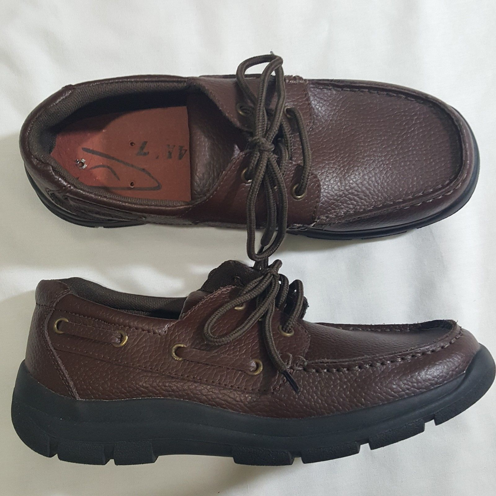 Primary image for Dr Zen Nautica Boat Wide Shoe Brown Leather 3 ring Unisex  Mens 6.5 Womens 7.5