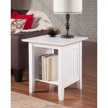 White End Table Square Accent Nightstand Bed Side Bedside Book Shelf Sta... - $148.76
