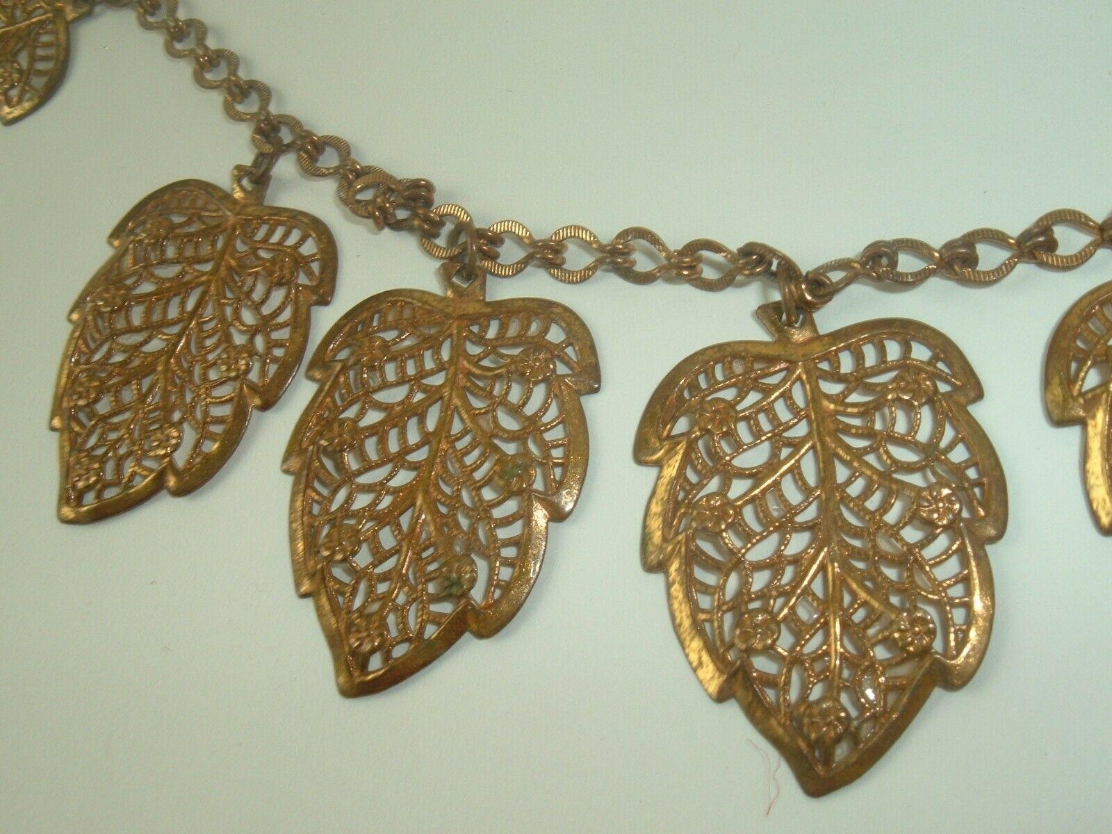 Antique Necklace Metal Filigree leaves chain link gold tone Victorian Vintage