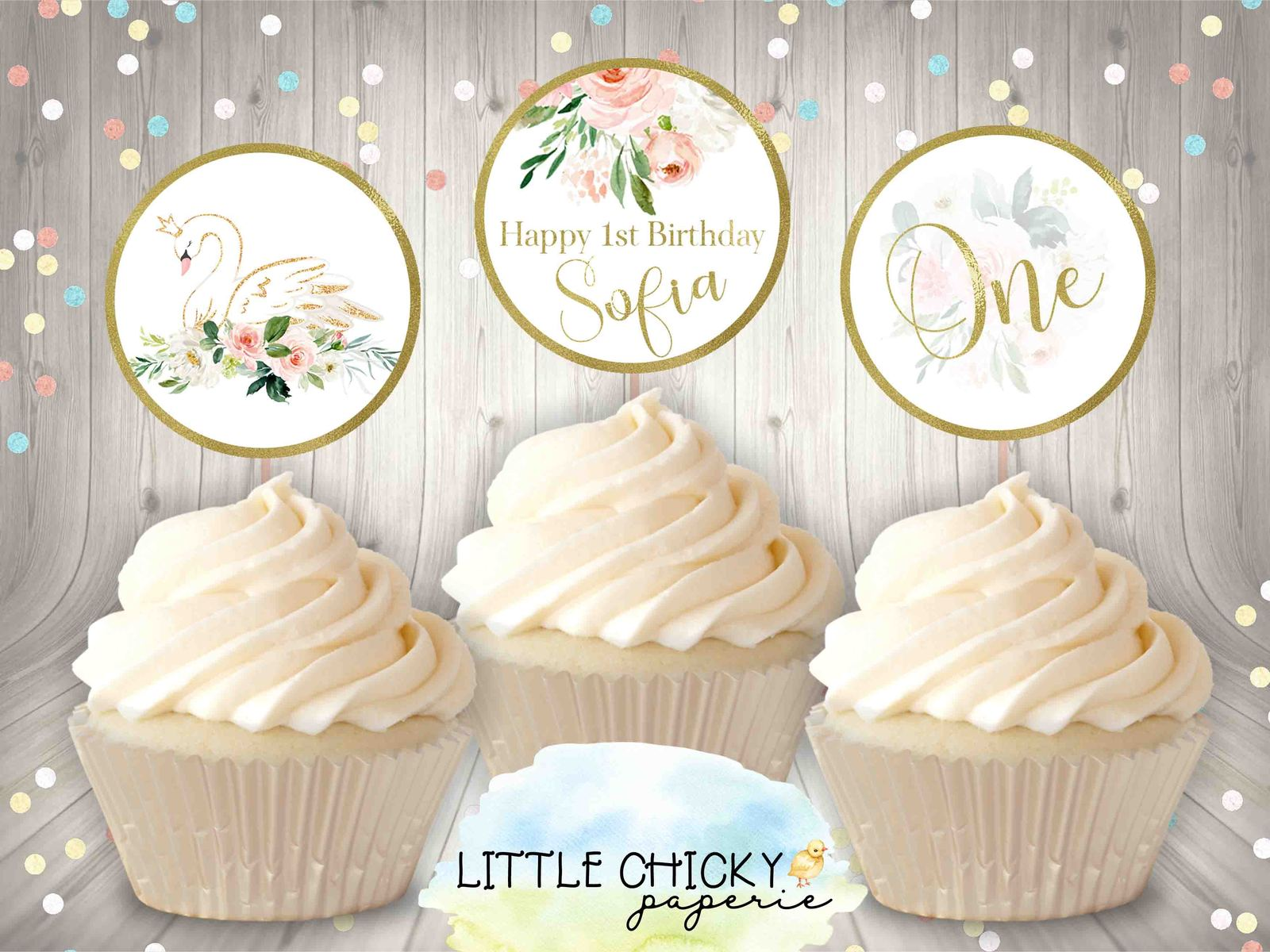 Swan Birthday Cupcake Toppers Printable And 50 Similar Items