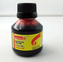 8 Camel Fountain Pen Ink SCARLET RED Bottles 60 ml 2 oz Camlin 8 qty New Sealed image 1