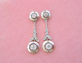 ANTIQUE ART DECO 1.34ctw DIAMOND DROP STUD DANGLE HALO COCKTAIL EARRINGS... - $3,117.51