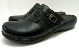 Clarks Bendables Leisa Womens Sz 9.5 Clogs Mule Black Leather Comfort Sh... - $68.30