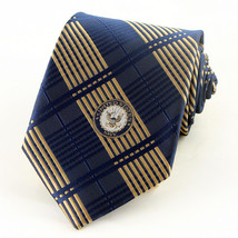 Navy Emblem Mens Necktie Patriotic Ship Anchor Military Plaid Blue Neck Tie - $31.68