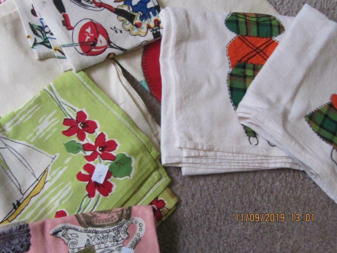 Lot of 25 Vintage teatowels dish towels assorted sizes colors condition fabrics image 4