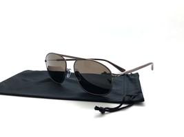 Giorgio Armani Pilot AR 6015 3057/53 Satin Brown Metal Sunglasses 56mm - $87.27