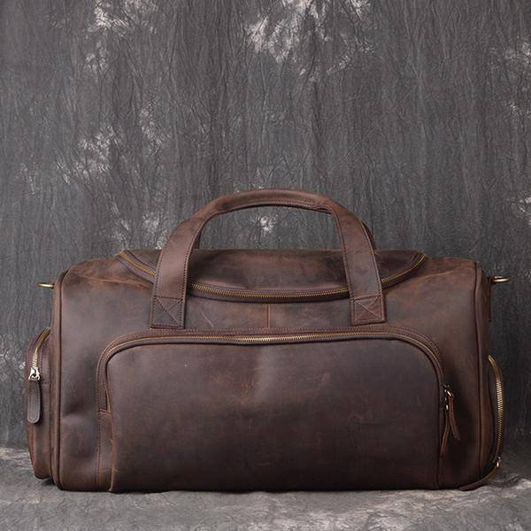 On Sale, Full Grain Leather Gym Bag, Vintage Travel Bag, Duffel Bag