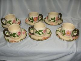 12 Pc Vintage Cups & Saucers Franciscan China Stoneware Desert Rose USA ... - $64.35