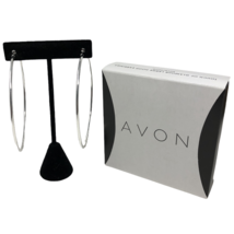 "Avon Mark Large Silver Tone Hoop Earrings Touch of Glamour 3"" NIB - $11.87"