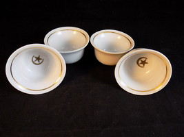 Set of 4 Tiny Ceramic cups with CRESCENT MOON AND STAR gold rim porcelai... - $13.75