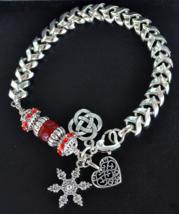 Murano Glass Bracelet, Silver Bracelet, Charms, Heart, Celtic Knot, B116 - $13.99