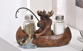 3 pc. Set Salt & Pepper Shakers with Tray - Fishing Moose in Canoe Polyresin NEW