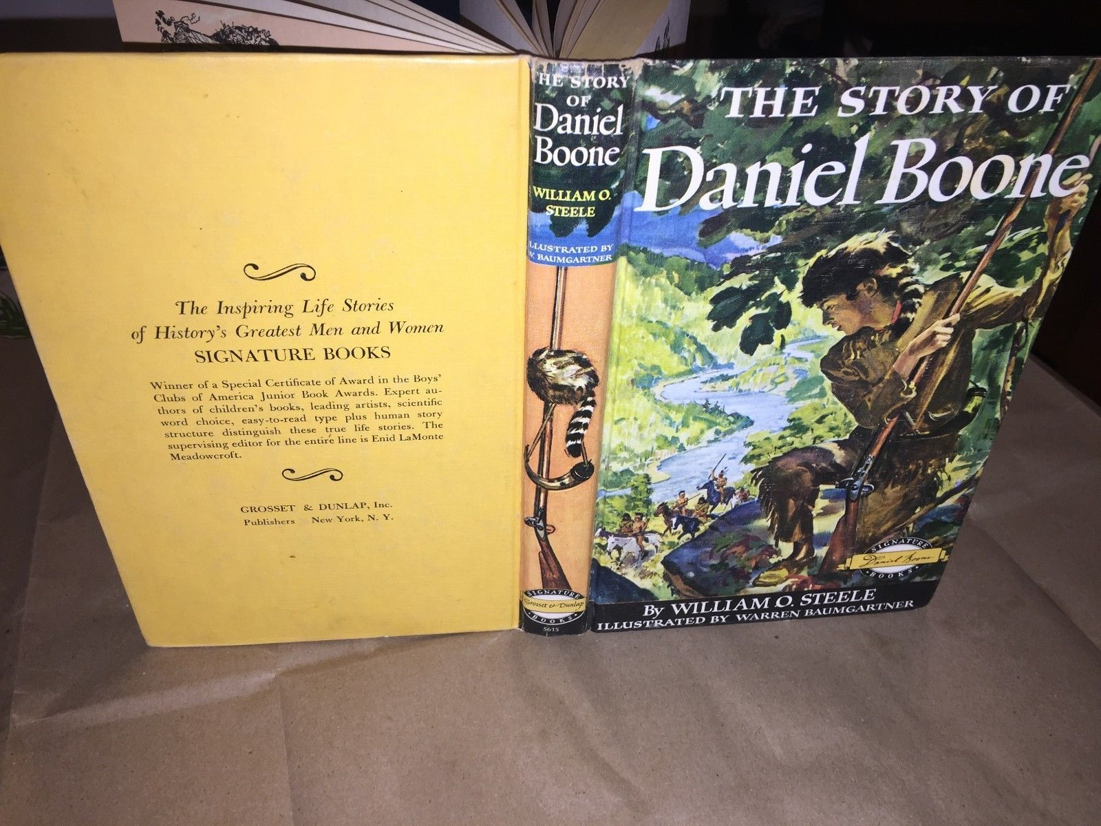 HB, 1953, The Story of Daniel Boone by William O. Steele, Signature Book
